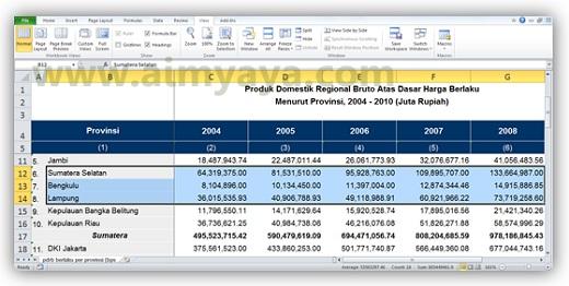 Gambar: Contoh tampilan yang diperkecil dengan zoom to selection di microsoft excel 2010