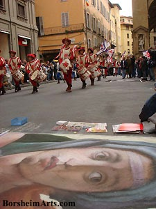 Michelangelo, Sistine Chapel, Sybil, Florence Parade, Renaissance Art, street painting, Book:  My Life as a Street Painter in Florence, Italy