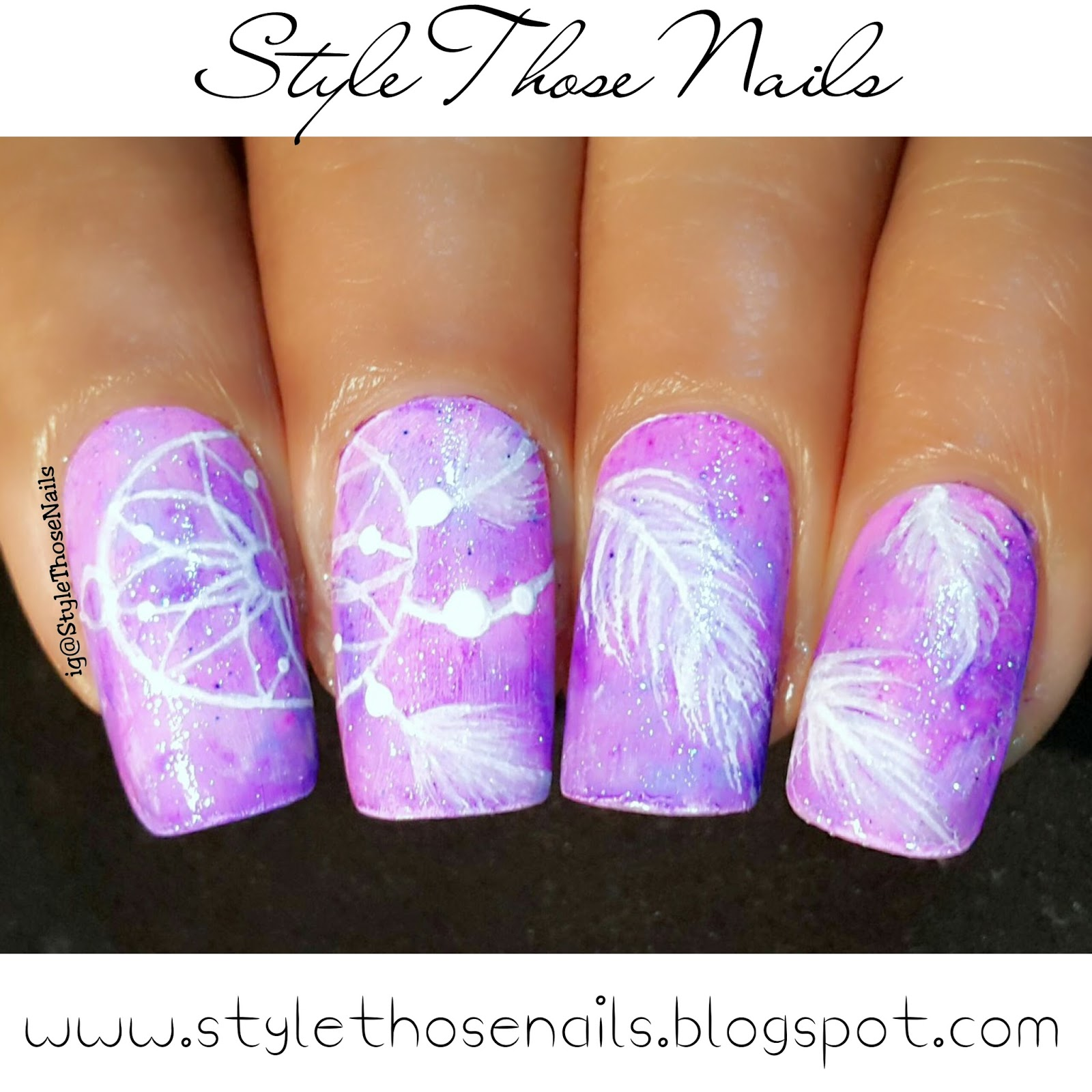 Style Those Nails Dream Catcher Nails On Water Colour Base Mani