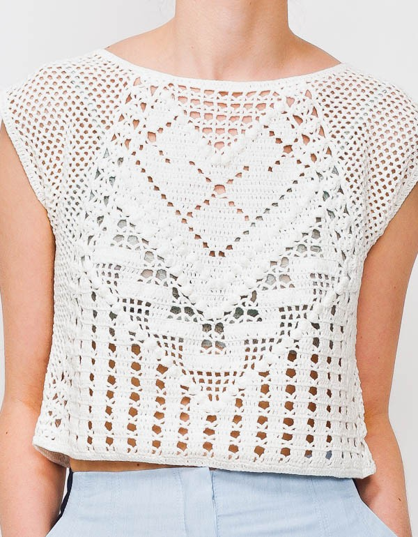 ... general economy: LAUREN MOFFATT CROCHET CROP TOP / BRAND NEW! / Medium