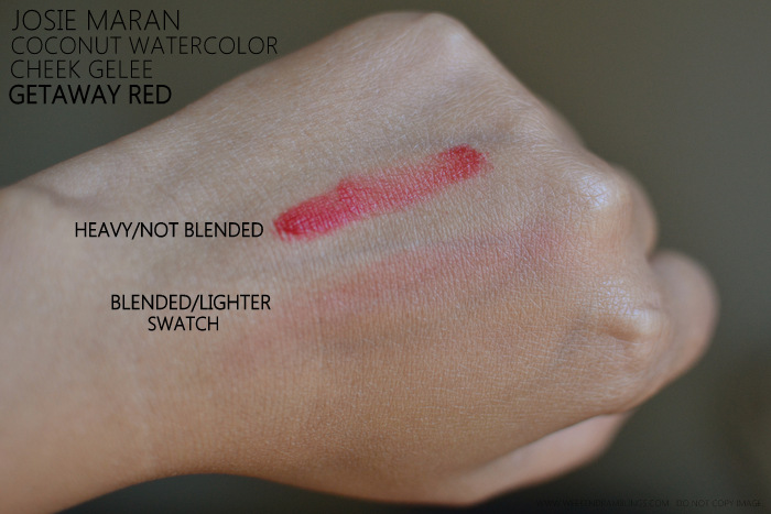 Josie Maran Coconut Watercolor Cheek Gelee Getaway Red Blush Indian Darker Skin Makeup Beauty Blog Reviews Photos Swatches FOTD