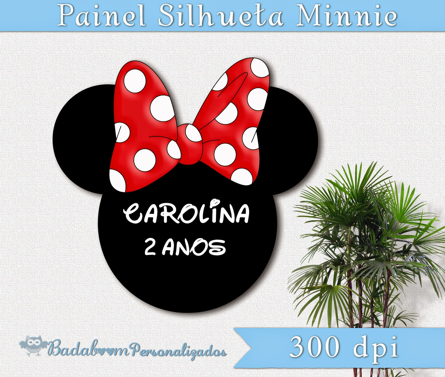 Personalizados, painel, banner, minnie, silhueta