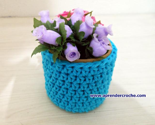 aprender croche mini vasos florais espiral circular tubular espiral blacklist edinir-croche