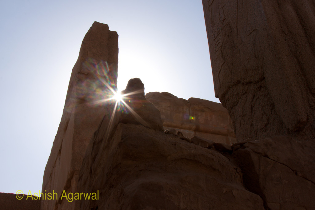 Sunlight twinkling through a section of the architecture of the Karnak temple