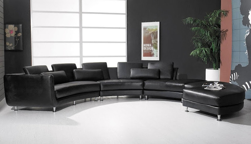 Black Leather Curved Sectional Sofa