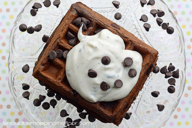 Easy Chocolate Waffles Topped with Mint Chocolate Chip Yogurt