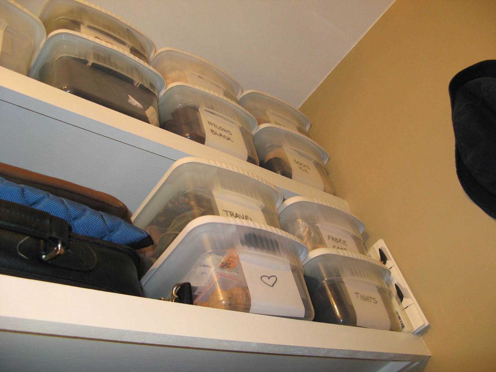 14 Closet Organizing Tips - CLEAR STACKABLE BINS