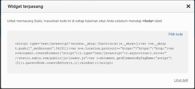 Kode Widget Subiz Chat