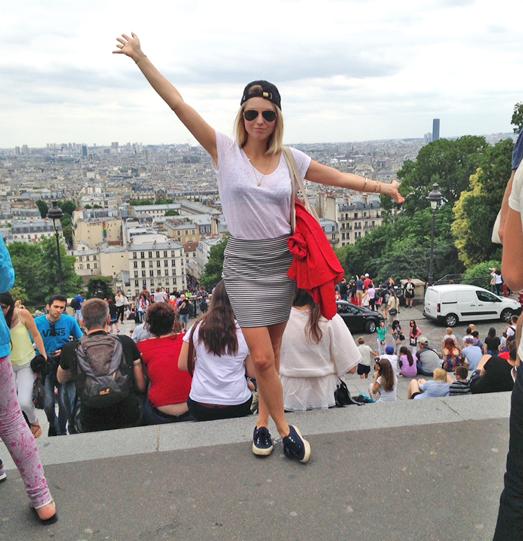 Top of the world, Montmartre Sacré Coeur in Paris, Joe Fresh striped mini skirt, navy canvas Superga sneakers