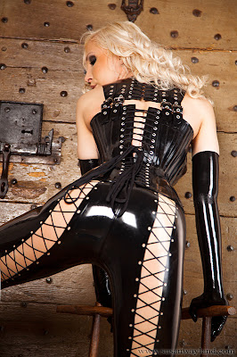 Susan Wayland Sexy Ass in Tight Latex Leggings and Corset