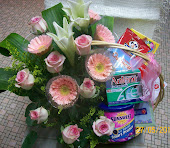 Hamper with Lilies & Roses