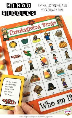 Thanksgiving Bingo Riddles www.speechsproutstherapy.com