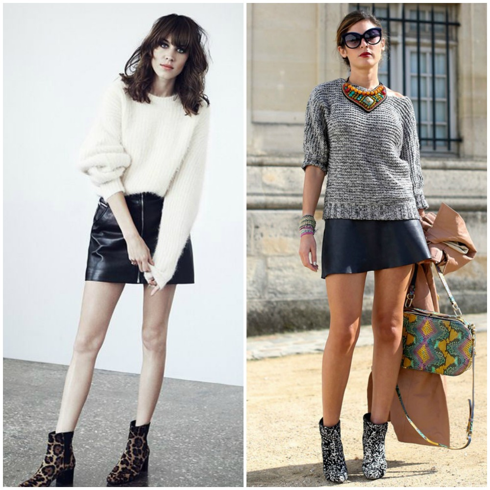 fall 2014 trends - black leather mini skirt outfit street style look fashion - printed ankle boots booties