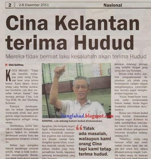 Cina Kelantan terima hukum hudud dilaksanakan