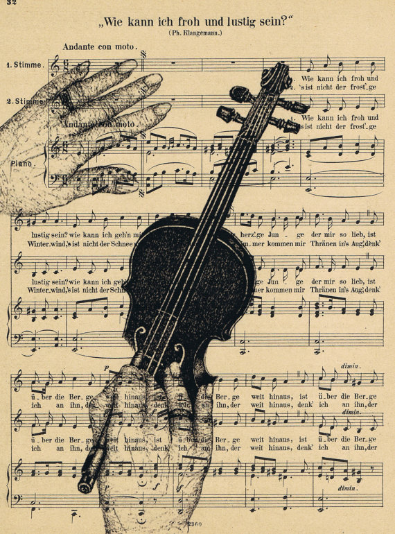 Lively image inside printable sheet music for crafts