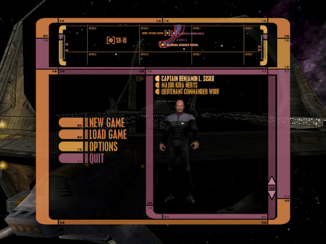 Deep Space Nine The Fallen main menu character select screen