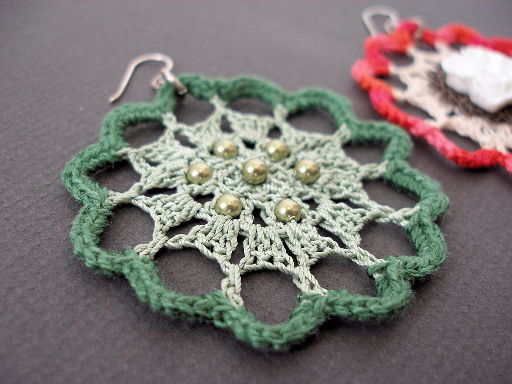 Jeweledelegance New Crochet Pattern Fire Flower Lace Earrings