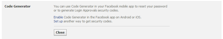 Code-Generator-Security-Settings-secure facebook account
