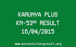 Karunya Plus KN 53 Lottery Result 16-4-2015