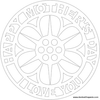 Happy Mother's Day mandala to color in JPG and transparent PNG formats
