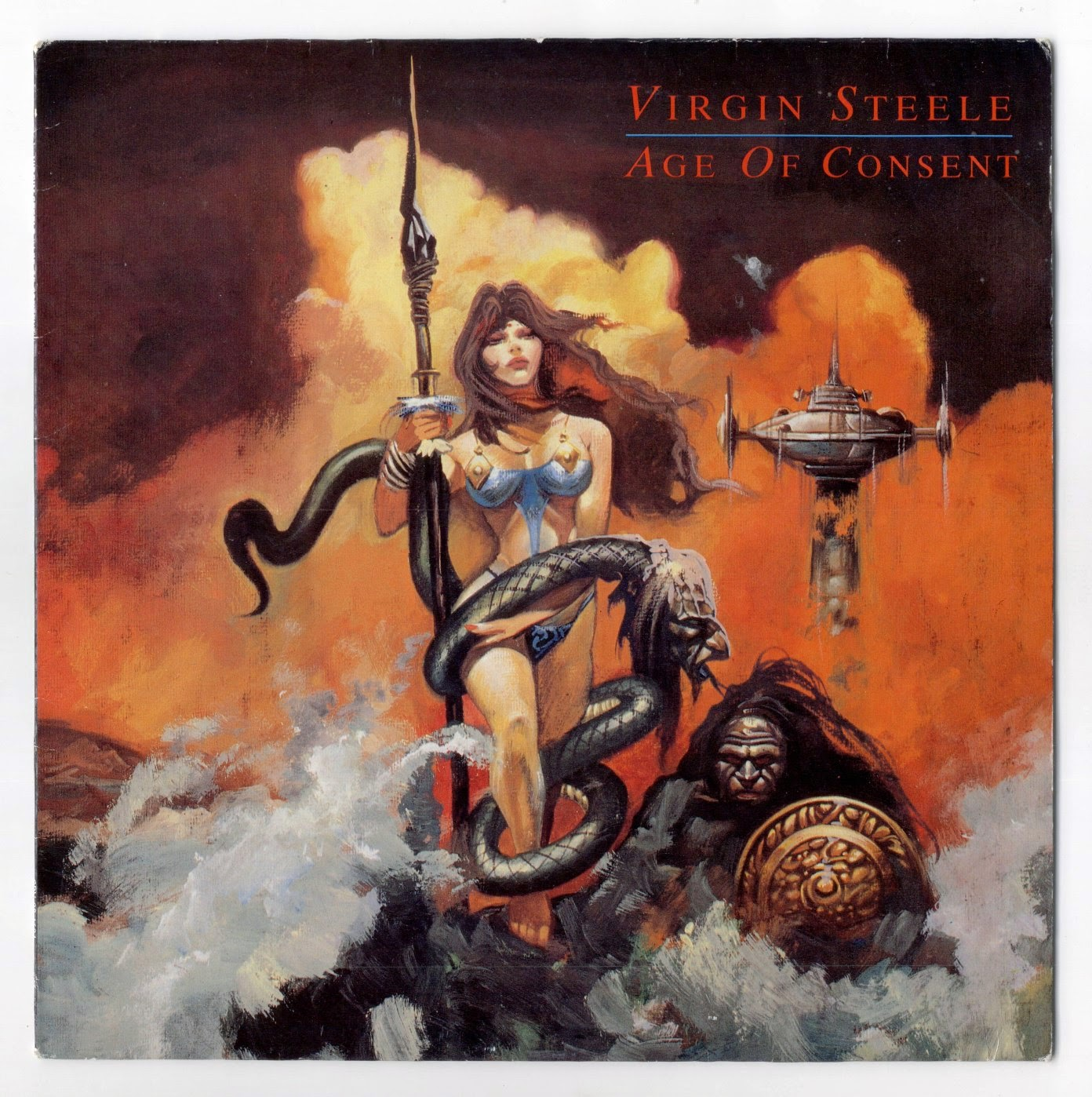 snake with a face, warrior woman, metal album cover