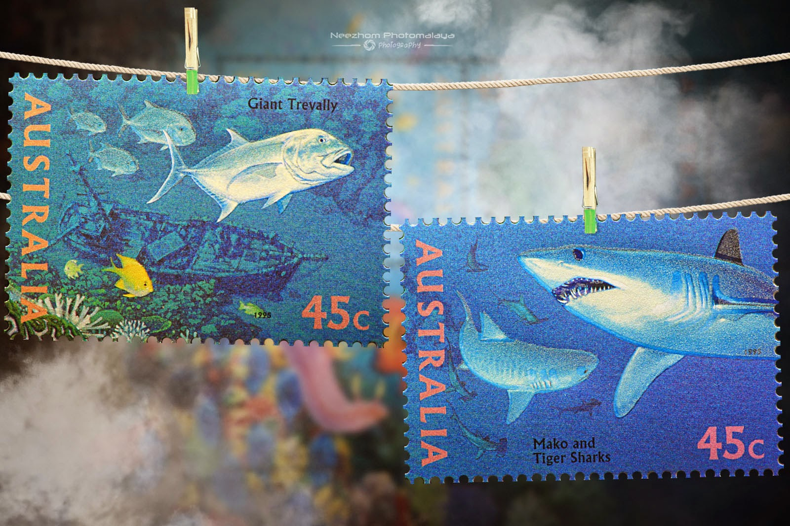 Australia 1995 The World Down Under stamps - Giant trevally, Mako and Tiger shark