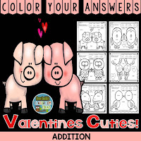 Color Your Answers Addition Valentine's Day Cuties!