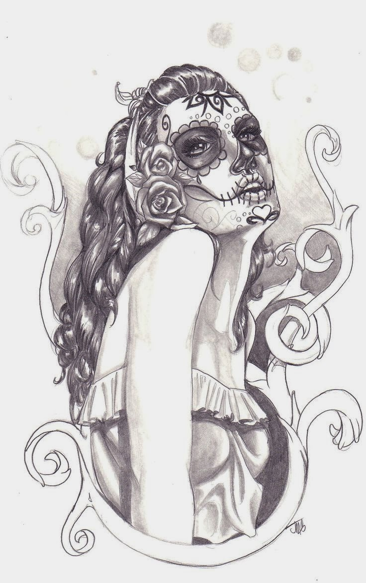 Girl day of the dead  tattoo stencil