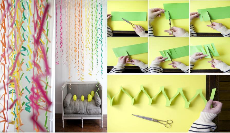 con algunos cortes pudes hacer esta serpentina de papel para decorar para una fiesta o evento no requieres mas que tiejeras y muchas tiras de papel de