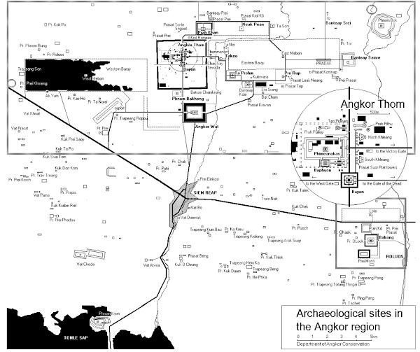 Mapa Templos de Angkor - Camboya