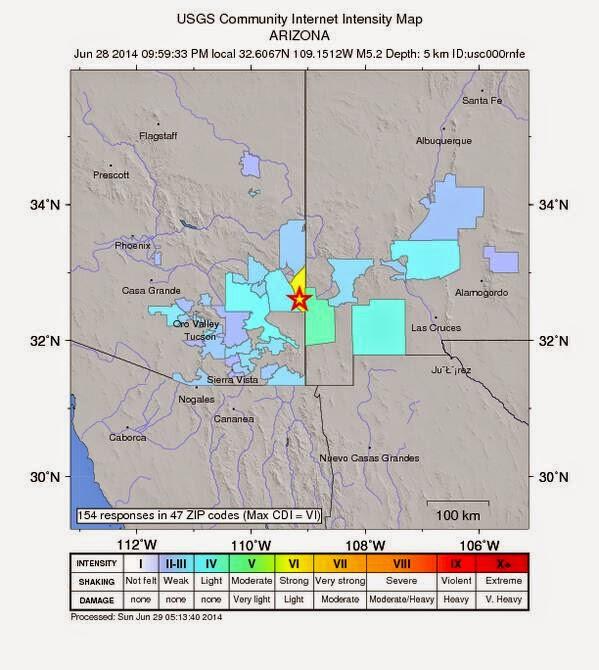 Epicentro sismo 5,2 grados en Arizona, 29 de Junio 2014