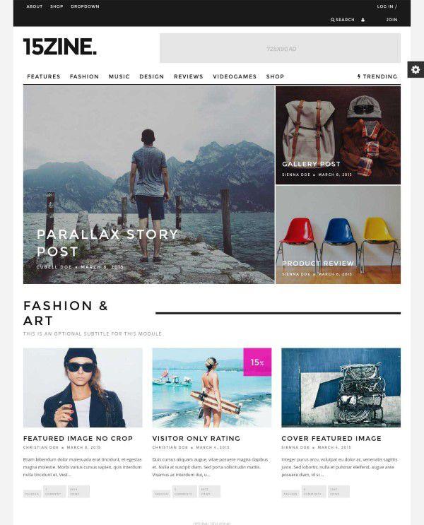 15zine magazine style blog theme