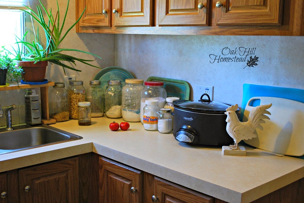 Jars Of Staples, Such As Flour, Sugar, Pastas, Rice And So On, Line The  Countertop Next To The Sink. Tomatoes Ripen On The Counter, And Small Pots  Of Herbs ...
