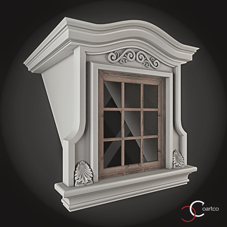 Ornamente Geamuri Exterior, fatade case cu profile decorative polistiren, profile fatada,  Model Cod: WIN-100