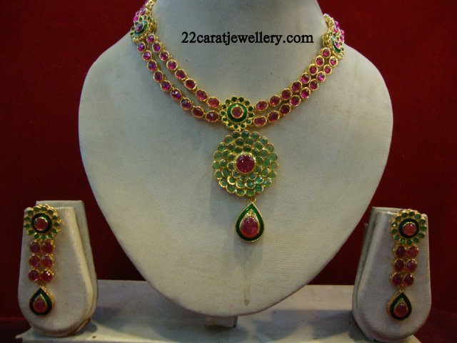 One Gram Gold Ruby and Kundan Necklace Sets Jewellery Designs