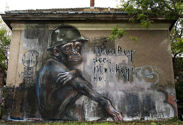 "German Street Art Duo Herakut Newest Mural ""Monkey See, Monkey Do."" In Berlin. 1"