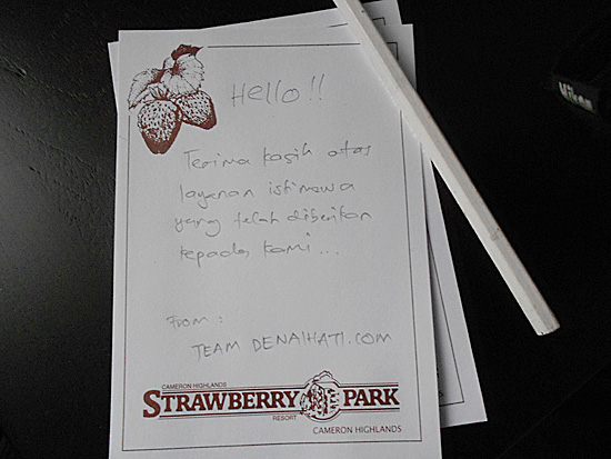 Nota terima kasih Strawberry Park Resort