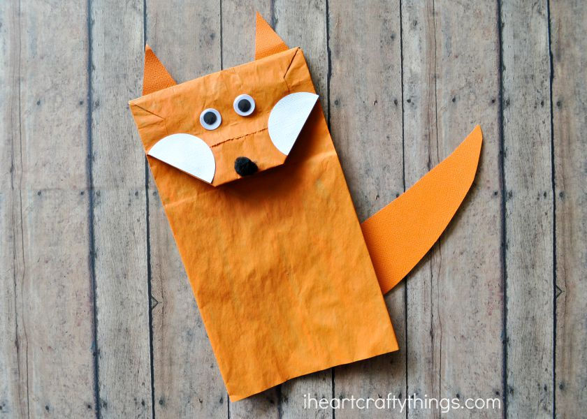 Paper bag fox craft for kids i heart crafty things for Brown paper bag crafts for preschoolers
