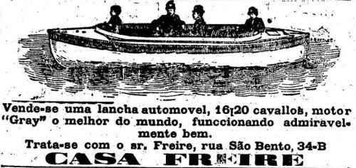 Propaganda da Lancha Automóvel apresentada em 1917 no jornal 'O Estado de São Paulo'.