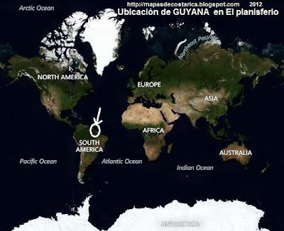 Ubicación de GUYANA en El planisferio, vista aérea, BING