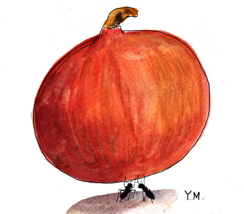 """Two ants and a pumpkin"" by Yukié Matsushita"
