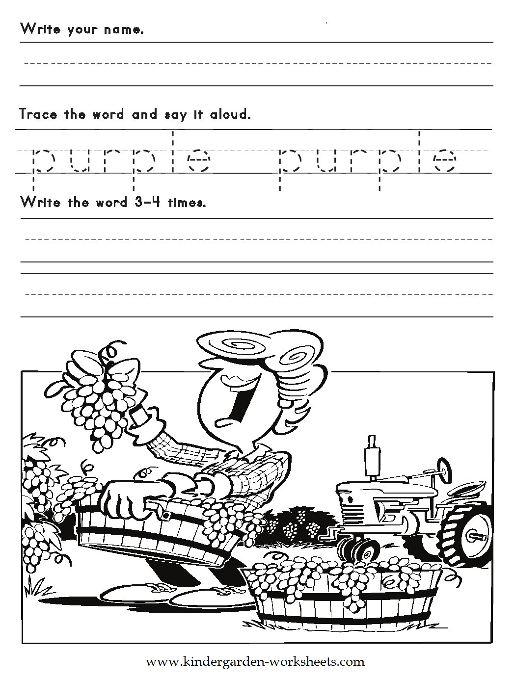 color words worksheets purple - Free Color Word Worksheets