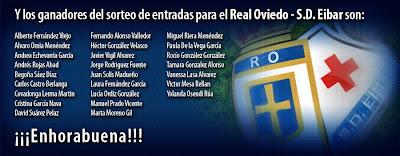 Nombres de los ganadores del sorteo de entradas dobles para el partido de la fase de ascenso: Real Oviedo - Eibar