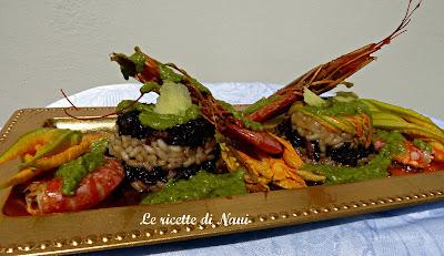 savarin  bicolore con gamberi rossi , zenzero e pesto con fagioli cannellini