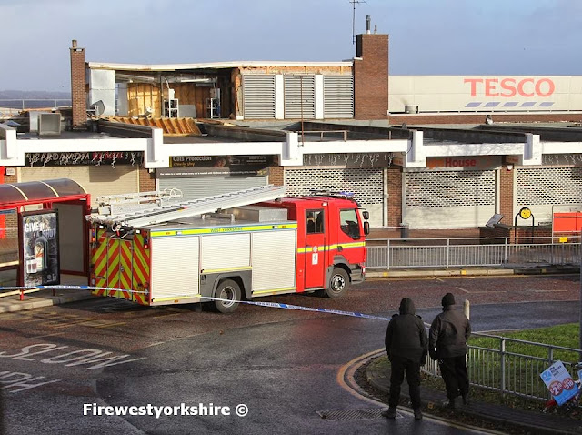 Bramley District Shopping Centre, Fire Crews, Roof Blown Off