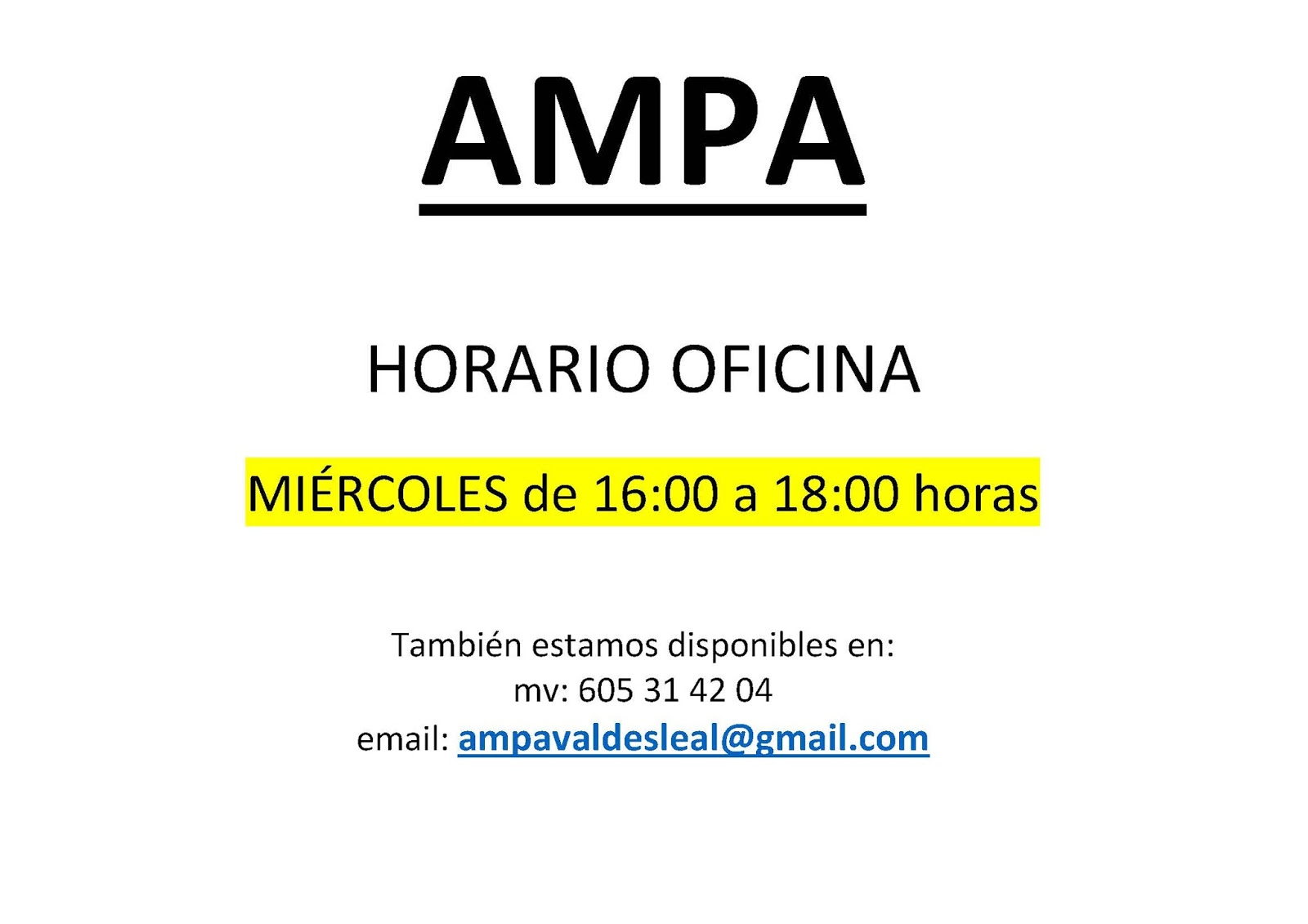 Ampa ceip vald s leal horario oficina ampa invierno for Horario oficinas ibercaja