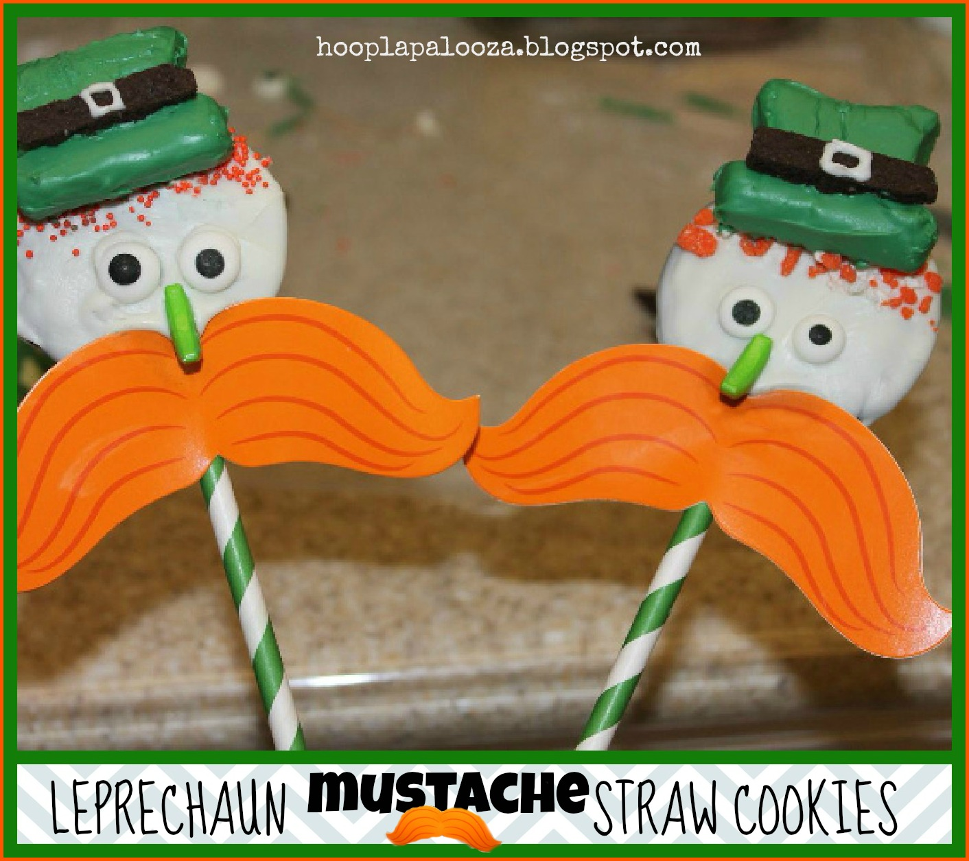 Leprechaun Mustache Straw Cookies