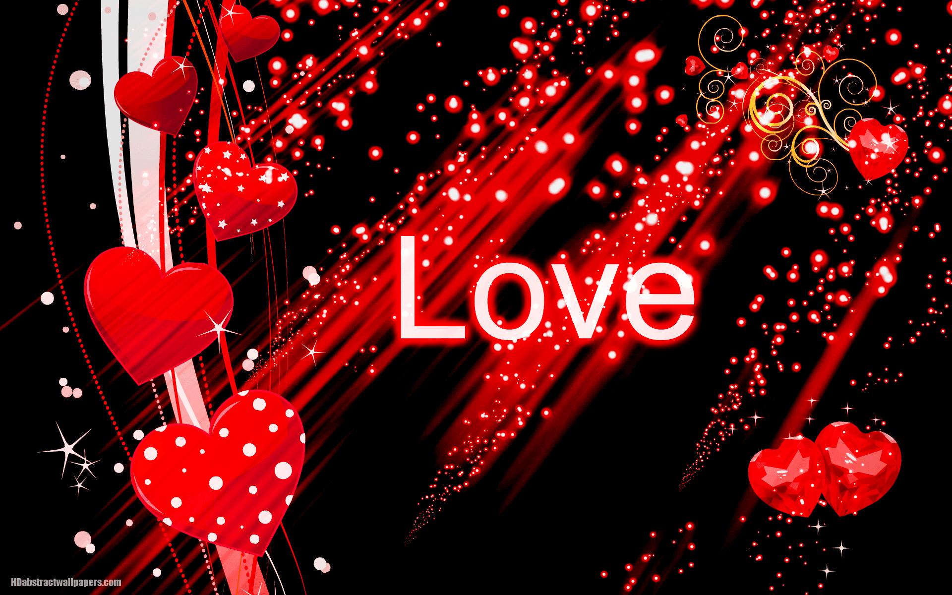 Red Love Wallpaper Hd : Black abstract wallpaper with red love hearts HD Abstract Wallpapers