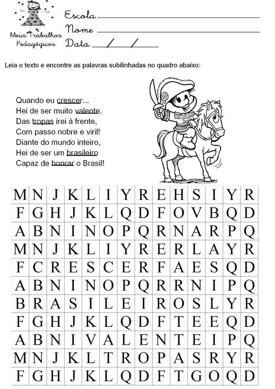 ATIVIDADES EDUCATIVAS, ESCOLARES DA INDEPENDÊNCIA DO BRASIL, 7 DE