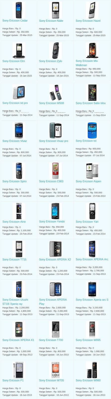 Daftar Harga Hp Sony Ericsson Januari 2016